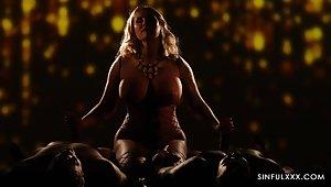 Busty grown-up Jarushka Ross enjoys having erotic MMF threesome