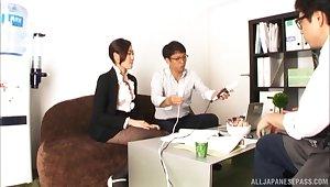 Hardcore MMF triune with cock hungry secretary Kawana Aki
