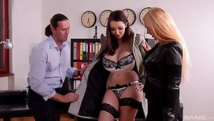 Crazy office threesome involving busty models Kyra Hot and Lucie Wilde