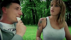 Guy finds the Germany lovely in the park and involves her in sexual connection