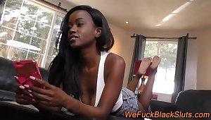 Ebony slut swallows jizz