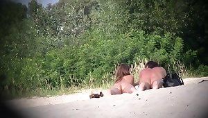 Hot fastener of margin nudists voyeured on spycam from behind