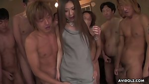Gangbang style video featuring pretty Asian girl Aya Sugiura