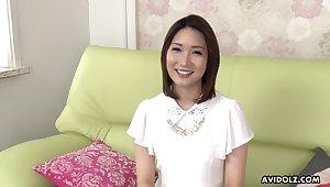 Torrid Japanese brunette Mikuni Maisaki has a admirable time while masturbating