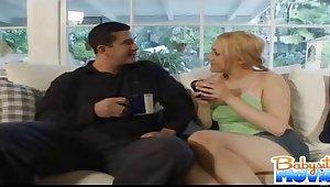 Naughty vest-pocket-sized babysitter Gwen Diamond flirts and kisses say no to boss