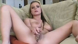 Hot blonde in the air obese tits Chelsea lies on the vis-�-vis and bangs her twat in the air a glass dildo